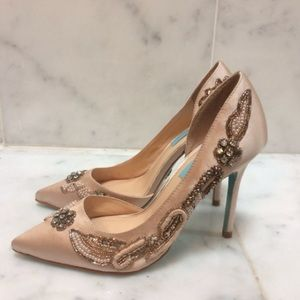 Betsey johnson satin beaded pumps